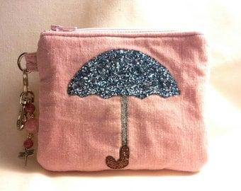 Baby Pink Corduroy Zippered Wristlet Clutch with Glitter Umbrella in Powder Blue, Keyring & Swivel Hook