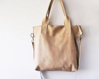 ON SALE Beige  leather tote - Handbag - Cross-body bag - Every day bag - Women bag - Shoulder leather bag