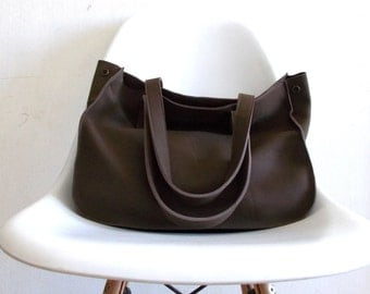 Brown leather tote,Every day bag, Woman bag
