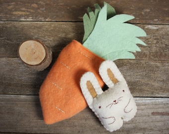 interactive toy: handmade hand-stitched wool felt carrot with bunny by Kata Golda
