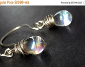 VALENTINE SALE Teardrop Earrings - Wire Wrapped Earrings in Clear Glass - Elixir of Purity in Silver. Handmade Earrings.
