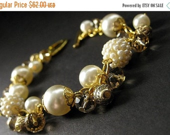 HALLOWEEN SALE Ivory Wedding Bracelet in Cream Pearls and Taupe Crystals. Handmade Bridal Jewelry by Gilliauna