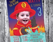 Firefighter Invitation Red  DIGITAL FILE Personalized with photo