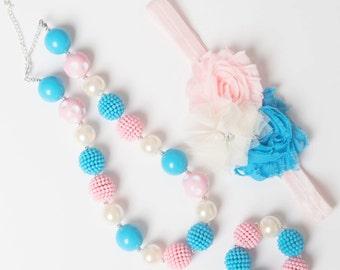 Blue necklace, Pink bubblegum necklace, little girl necklace, chunky bead necklace, bubble gum necklace, toddler necklace baby girl necklace
