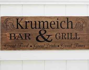 Personalized Bar & Grill Hand-Painted Wooden Sign // Custom Wall Art // Pub Sign // Man Cave Sign // Home Bar Sign // Custom Bar Sign