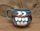Crazy Happy Smiley Face Mug Googly Eyes Funny Coffee Cups. Blue Stoneware Pottery Mug. Unique Cool Coffee Cups. Handmade. 14 Ounces.