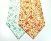 Floral Neckties Mint Necktie Mint Floral Neckties Mens Neckties Yellow and Mint Neckties Custom Neckties