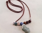 Five Elements With Carved Jade Pi Xiu Charm, Adjustable Necklace, Brown, Protector, Therapeutic Gemstones