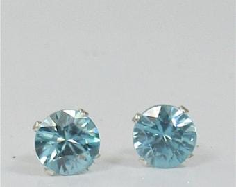 Blue Zircon 5mm 1.50ctw Gemstone Stud Earrings Sterling Silver