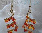 Helix Nebula Earrings - 47mm length - triple spiral earrings - orange fireopal red crystal galaxy earrings - gold filled leverbacks