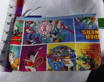 Justice League Fabric Zipper  Pouch  Handmade -- Pencil Pouch, Gadget Pouch   DC Comic
