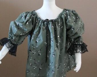 Girls Green Chemise Cotton Childs Fairy Tale Dress Tudor Renaissance Medieval Costume Gown