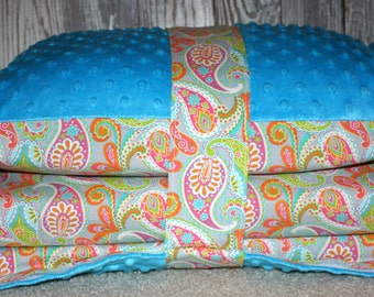 Kinder Nap Mat Cover -Pretty Paisley with Turquoise Minky - Ready To Ship