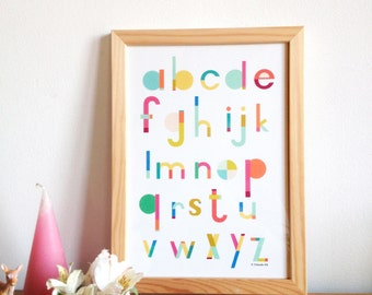 Alphabet print - ACB Poster for kids room, art print illustration for kids,  size A4 = 8, 27 x 11, 7 inch