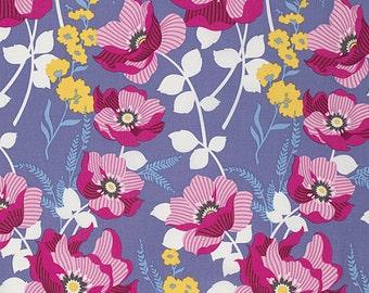 Atrium Fabric by Joel Dewberry Monarch Fuchsia Pink Floral Flowers on Gray Grey