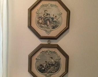 Baroque French Cherubs Lady Framed Prints Octagonal Vintage