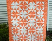 SALE ***Orange Creamsicle Quilt, Also Called Winding Ways  It is 37x45 a nice lap, child, toddler quilt.