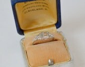 Antique 18K White Gold Ring Setting . Just the Setting . Size 5 . Beautiful Setting