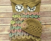 Crochet OWL PATTERN - Baby Sack and Hat Set - Sleeping Owl - Newborn Photo Prop - Owl Cocoon - Owl Sack - Sleeping Owl Eyes - Owl Baby Hat