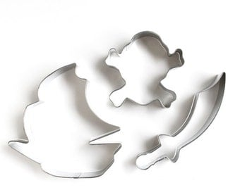 Pirate Cookie Cutter Set, Pirate Ship Cookie Cutter, Jolly Roger Cookie Cutter, Sword Cookie Cutter (Set of 3)