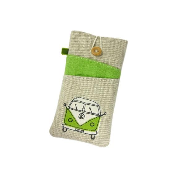 OnePlus 5, Galaxy S8 Plus Case, LG G6 Phone Cover, Galaxy Phone Case, Green VW Phone Pouch, Samsung S7 Edge, Fabric Phone Sleeve