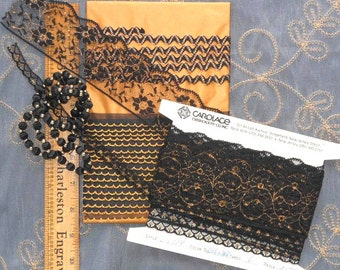 GOLD, Black Trim LOT. 1950-80s Vintage Embroidered Lace, Tape, 3 Designs, Ric Rac, Bead and Ball Chain. Yardage.  Sewing Trims