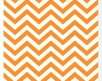 Baby Crib Sheets-Fitted-Orange Chevron- Organic Birch Fabric-Gender Neutral Modern Baby Bedding-Changing Pad Cover or Mini Crib Sheet