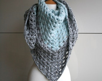 Ice blue and grey granny square chunky triangle scarf, fall wrap READY TO SHIP