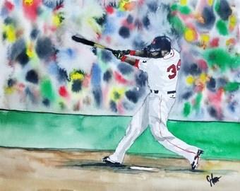 """DAVID ORTIZ, Watercolor Print,  Red Sox Painting, , Watercolor Print ORIGINAL - Open Edition """"Big Pap"""" David Ortiz"""
