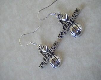 Volleyball Earrings, I Heart Volleyball, Dangle Earrings, .925 Sterling Silver Ear Hooks, CooperStudios