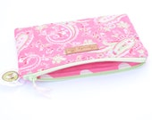 Quilted Pink Paisley  Zipper Pouch Makeup Bag Clutch Coin Purse