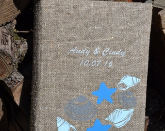 SALE ~ 15% Personalized linen photo album, Rustic wedding photo album, Burlap photo Album Family photo album