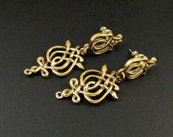 Celtic Knot Earrings, Irish Earrings, Celtic Earrings, Gold Earrings, Dangle Earrings