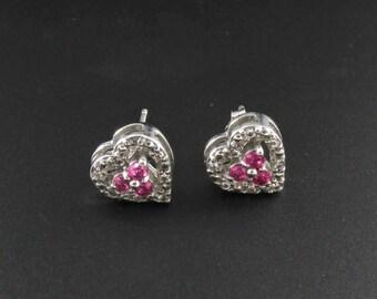 Sterling Silver Earrings, Pink Sapphire Earrings, Sterling Earrings, Heart Earrings, Diamond Earrings, Small Earrings, Pink Earrings