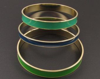 Enamel Stacking Bracelets, Green Bracelets, Blue Bracelet, Bracelet Set, Metal Bracelets, Enamel Bracelets, Stacking Bracelets