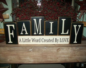 Primitive Family..A Little Word Created By Love Wood Sign Shelf Blocks Distressed Country Decor Stacking Letter Blocks