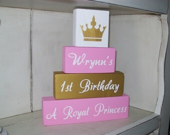 New Princess Wooden Sign Stacking Blocks First  Birthday Party Centerpiece Girls Room Nursery Decor