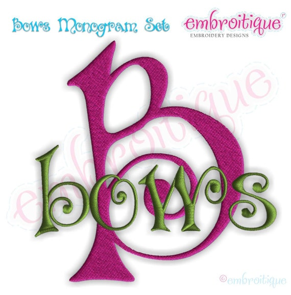 Bows Curly Cute   Embroidery Alphabet Monogram Set- Machine Embroidery Font Letters  Instant Download