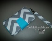 Ready to Ship - Grey Chevron & Blue Wallet Clutch with 8 Credit Card Slots, 1 Zipper pouch, and 2 Slots for Money