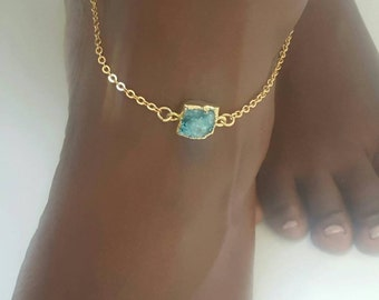 Summer Anklet with small crystal druzy
