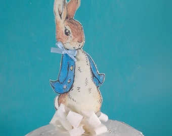 Shabby Chic Peter Rabbit cake topper, fabric Peter Rabbit birthday or shower party decoration L042