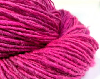 "Finn Handspun Yarn, Hand Dyed Yarn, Neon Pink Yarn, ""Wake Up Pink"" Wool Yarn, Pink Sport Weight Yarn"