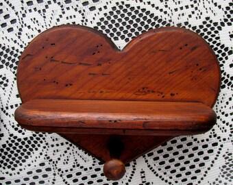 Distressed Wood Heart Shelf / Wood Pegged Heart Shelf / Heart Wood Shelf Rustic / Country Wood Heart / Bathroom Decor / Cabin Lodge Decor