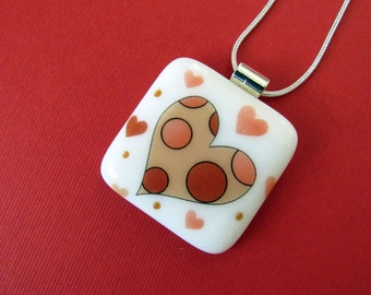 Fused Glass Heart Pendant - Adorable and Romantic Gift Idea for Her - Fused Glass Jewelry - Fused Glass Necklace -101-16