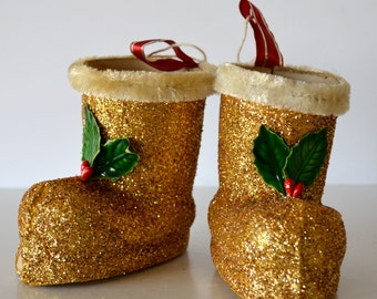 Vintage 1950's Christmas Gold Glitter Boots Christmas Ornaments Set of 2 Candy Containers