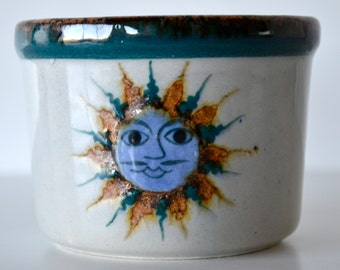 Vintage Erandi Tonala Mexico Pottery Small Dish Sun Face Design