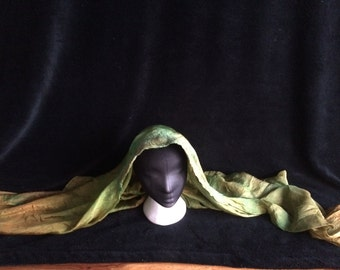 silk nuno felted scarf, shawl, turban, head scarf, hand dyed
