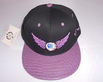Buckle-back Flat-Brim Hat - Flying Eyeball (One-of-a-kind)