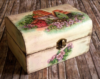 Country jewelry box with birdhouses decoupage for fairytales lovers