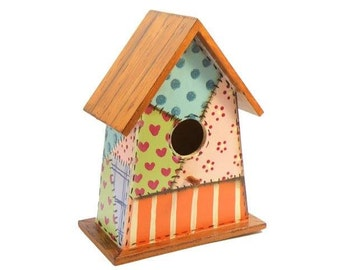 Patchwork bird house home decor